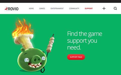 Screenshot of Support Page rovio.com - Support | Rovio.com - captured June 9, 2016