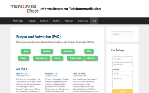 Screenshot of FAQ Page direct.de - FAQ Übersicht - Tenovis Direct Blog - captured Sept. 22, 2018