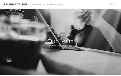Screenshot of Team Page salmelatalent.com - Our Team — Salmela Talent - captured Sept. 20, 2018