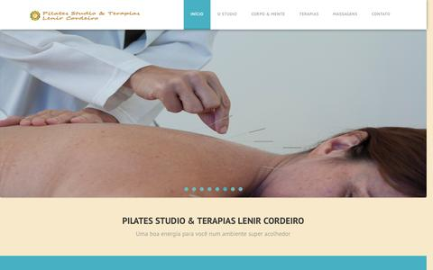 Screenshot of Home Page pilateslenir.com.br - Pilates Copacabana, RJ | Pilates Studio & Terapias Lenir Cordeiro - captured Jan. 28, 2016