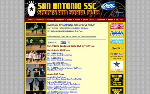 Screenshot of Press Page sanantoniossc.com - San Antonio Sports and Social Club » San Antonio Sports and Social Club In The Press - captured Oct. 1, 2014