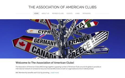 Screenshot of Home Page associationofamericanclubs.com - The Association of American Clubs - Madrid, Spain - captured Aug. 1, 2015