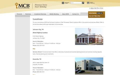 Screenshot of Locations Page mcb.com - Personal Banking   Business Banking   Investment Services   East Tennessee Bank   FDIC Insured   Celebrating 103 Years of Banking Excellence   Locations   Mountain Commerce BankMountain Commerce Bank - captured Oct. 29, 2014