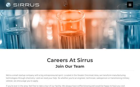 Screenshot of Jobs Page sirruschemistry.com - Careers – Sirrus Chemistry - captured Nov. 15, 2018