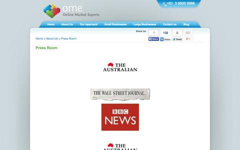Screenshot of Press Page onlinemarketexperts.com - Press Room - captured Sept. 19, 2014