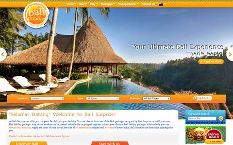 Screenshot of Home Page balisurprise.com - Bali Surprise | Bali Holidays and Vacation - captured Sept. 30, 2014