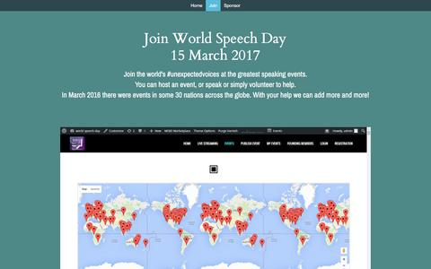 Screenshot of Signup Page worldspeechday.com - Join - World Speech Day - captured Aug. 18, 2016