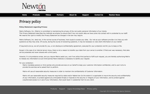 Screenshot of Privacy Page agencysystems.com - Privacy policy - Newton by Agency Systems | Insurance Agency Management Software for Independent Agents - Newton by Agency Systems | Insurance Agency Management Software for Independent Agents - captured Nov. 5, 2014