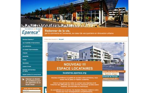Screenshot of Home Page epareca.org - Epareca, vie et commerce au coeur des quartiers - captured Sept. 30, 2014