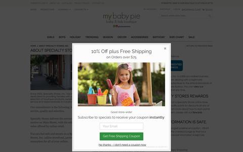 Screenshot of About Page mybabypie.com - About Specialty Stores, Inc. - captured March 8, 2016