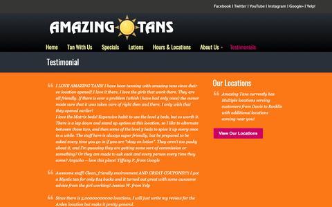 Screenshot of Testimonials Page amazingtans.com - Testimonial «  Amazing Tans ♥ TANNING SALONS IN SACRAMENTO | Tanning Roseville | Spray Tanning Folsom - captured Nov. 12, 2018