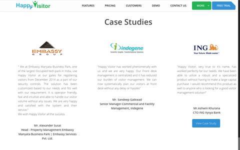 Screenshot of Case Studies Page happy-visitor.com - Visitor Management System- Happy Visitor - captured July 11, 2016