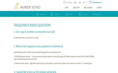 Screenshot of FAQ Page ambervend.com - FAQ - captured July 25, 2016