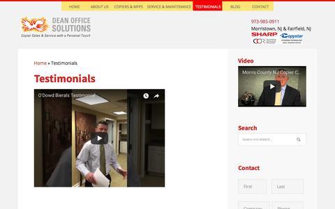 Screenshot of Testimonials Page deanofficesolutions.com - Testimonials - captured Aug. 6, 2018