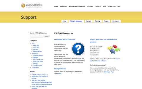 Screenshot of FAQ Page cognito.co.nz - MoneyWorks Support Pages - captured Oct. 6, 2014