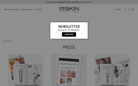 Screenshot of Press Page 111skin.com - Press - captured Sept. 22, 2018