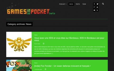 Screenshot of Press Page gamesinthepocket.fr - News | Games In The Pocket - captured Oct. 22, 2014