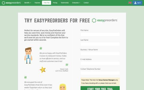 Screenshot of Trial Page easypreorders.com - 1 Month Free Trial | EasyPreOrders.com - captured July 16, 2018