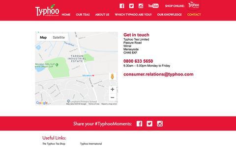 Screenshot of Contact Page typhoo.co.uk - Typhoo Tea   Contact - Typhoo Tea - captured Oct. 19, 2018