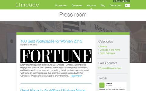 Screenshot of Press Page limeade.com - Press room | Limeade - captured Oct. 1, 2015