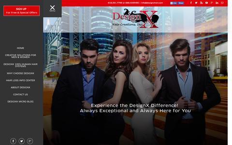 Screenshot of Home Page designxhair.com - Hair Loss | DesignX Hair Creations, Inc. - captured Feb. 9, 2016