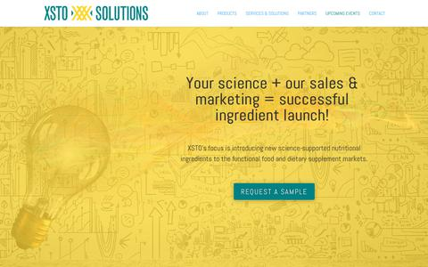 Screenshot of Home Page xstosolutions.com - Science-Supported Branded Ingredients - Xsto Solutions | XSTO Solutions - captured Oct. 18, 2018