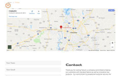 Screenshot of Contact Page textum.com - The best quality scrims & composite fabrics in North Carolina, USA | Textum - captured Nov. 18, 2018