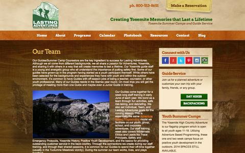 Screenshot of Team Page lastingadventures.com - Our Team - Lasting Adventures Yosemite Guide Staff - captured Sept. 29, 2014