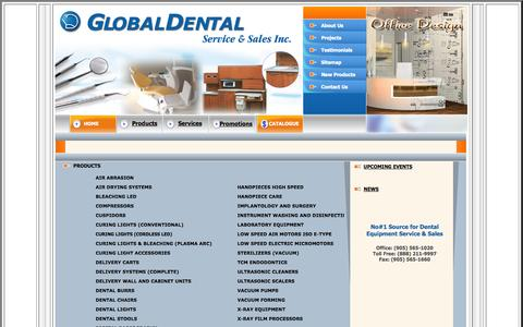 Screenshot of Products Page globaldental.ca - Global Dental - dental equipment sales and service supplier in Toronto, Ontario - captured Oct. 2, 2014