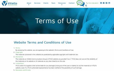 Screenshot of Terms Page vtlo.com - Terms Of Use | VTLO - captured Oct. 21, 2017