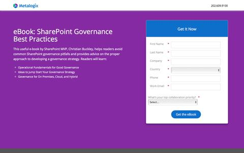 Screenshot of Landing Page metalogix.com - SharePoint Governance Best Practices - captured Nov. 10, 2017
