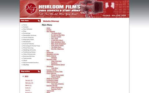 Screenshot of Site Map Page heirloomfilms.ca - Site Map - captured Oct. 2, 2014