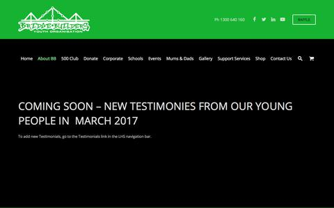 Screenshot of Testimonials Page bridgebuilders.com.au - Testimonials - captured Oct. 11, 2017