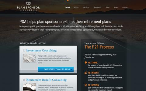 Screenshot of Home Page psaretire.com - Plan Sponsor Advisors | Retirement Plan and Investment Consulting - captured Oct. 2, 2014