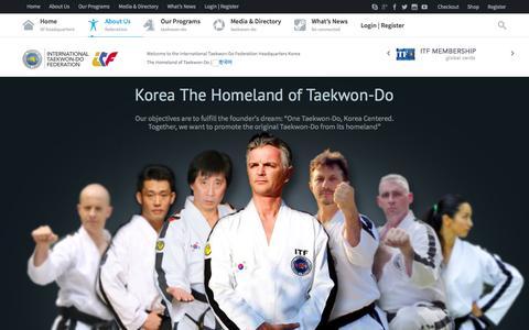 Screenshot of About Page itfline.org - About Us   International Taekwon-Do Federation - captured Oct. 6, 2014