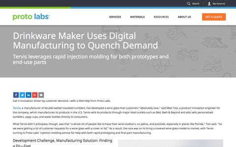 Screenshot of Case Studies Page protolabs.com - Case Study: Tervis Uses Digital Manufacturing to Quench Customer Demand - captured July 22, 2017