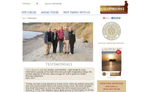 Screenshot of Testimonials Page gallipoli-2015.com.au - Testimonials for Gallipoli 2015 cruise and tours | Anzac Day cruise & tours - captured Sept. 30, 2014