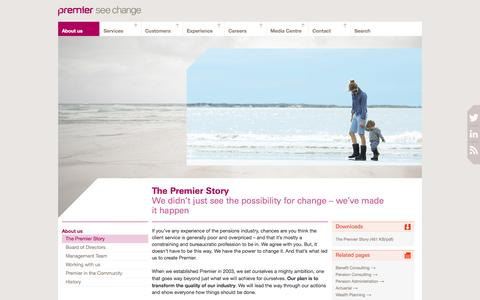 Screenshot of About Page premiercompanies.co.uk - The Premier Story   Premier Pensions Management - captured Oct. 3, 2014