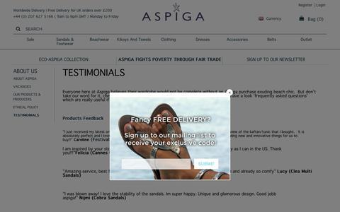 Screenshot of Testimonials Page aspiga.com - Testimonials   Aspiga - captured July 30, 2018