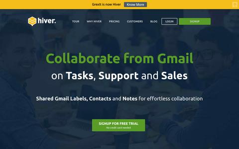 Screenshot of Home Page hiverhq.com - Collaborate from Gmail on Tasks, Support and Sales | Hiver - captured Sept. 27, 2015