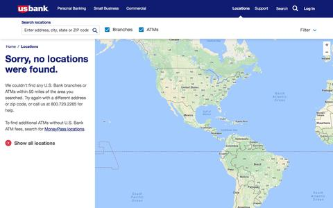 Screenshot of Locations Page usbank.com - Location Search - captured July 26, 2017