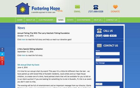 Screenshot of Press Page fosteringhopeflorida.org - News | Fostering Hope Florida - captured Nov. 25, 2016