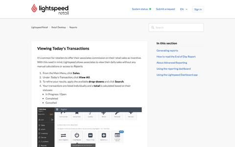 Viewing Today's Transactions – Lightspeed Retail