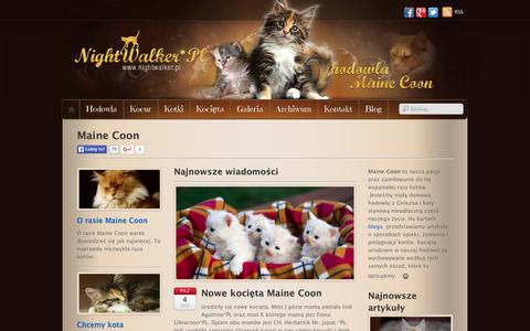 Screenshot of Home Page nightwalker.pl - Maine Coon - hodowla kotów rasowych - Nightwalker - Gniezno - captured Oct. 12, 2015