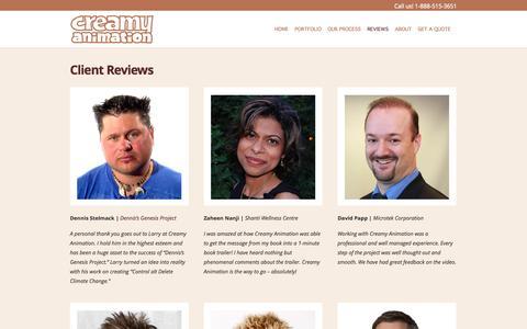 Screenshot of Testimonials Page creamyanimation.com - Clients & Testimonials - captured Sept. 30, 2014