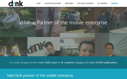 Screenshot of About Page dink.eu - About the company | d!NK - - captured Feb. 8, 2016