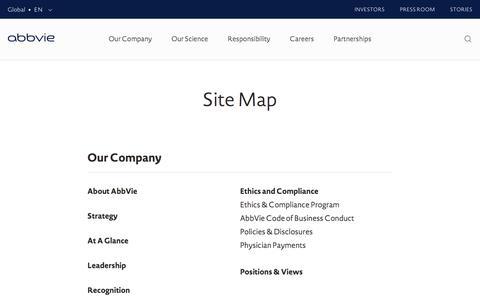 Screenshot of Site Map Page abbvie.com - Site Map | AbbVie - captured Dec. 16, 2016