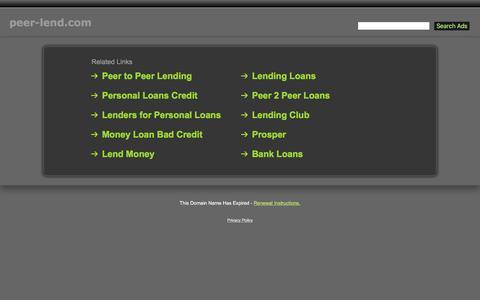 Screenshot of Home Page peer-lend.com - Peer-Lend.com - captured Jan. 20, 2016