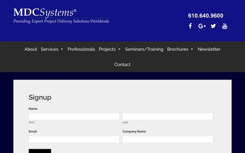Screenshot of Signup Page mdcsystems.com - Signup - captured July 13, 2018