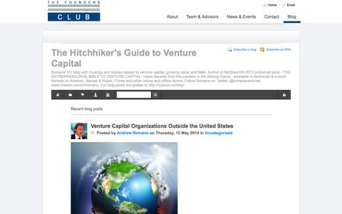 Screenshot of Blog founders-club.com - Recent blog posts - The Hitchhiker's Guide to Venture Capital - captured Oct. 26, 2014
